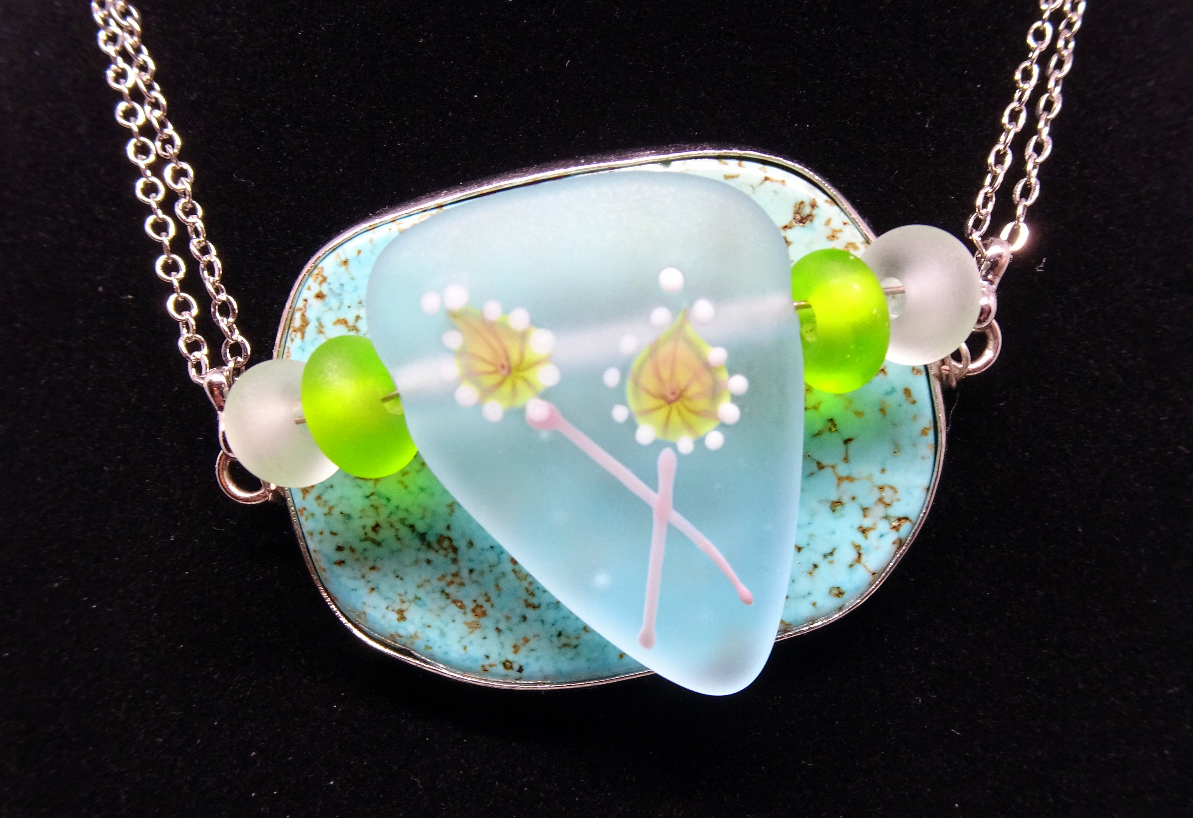 Glass and Turquoise Pendant