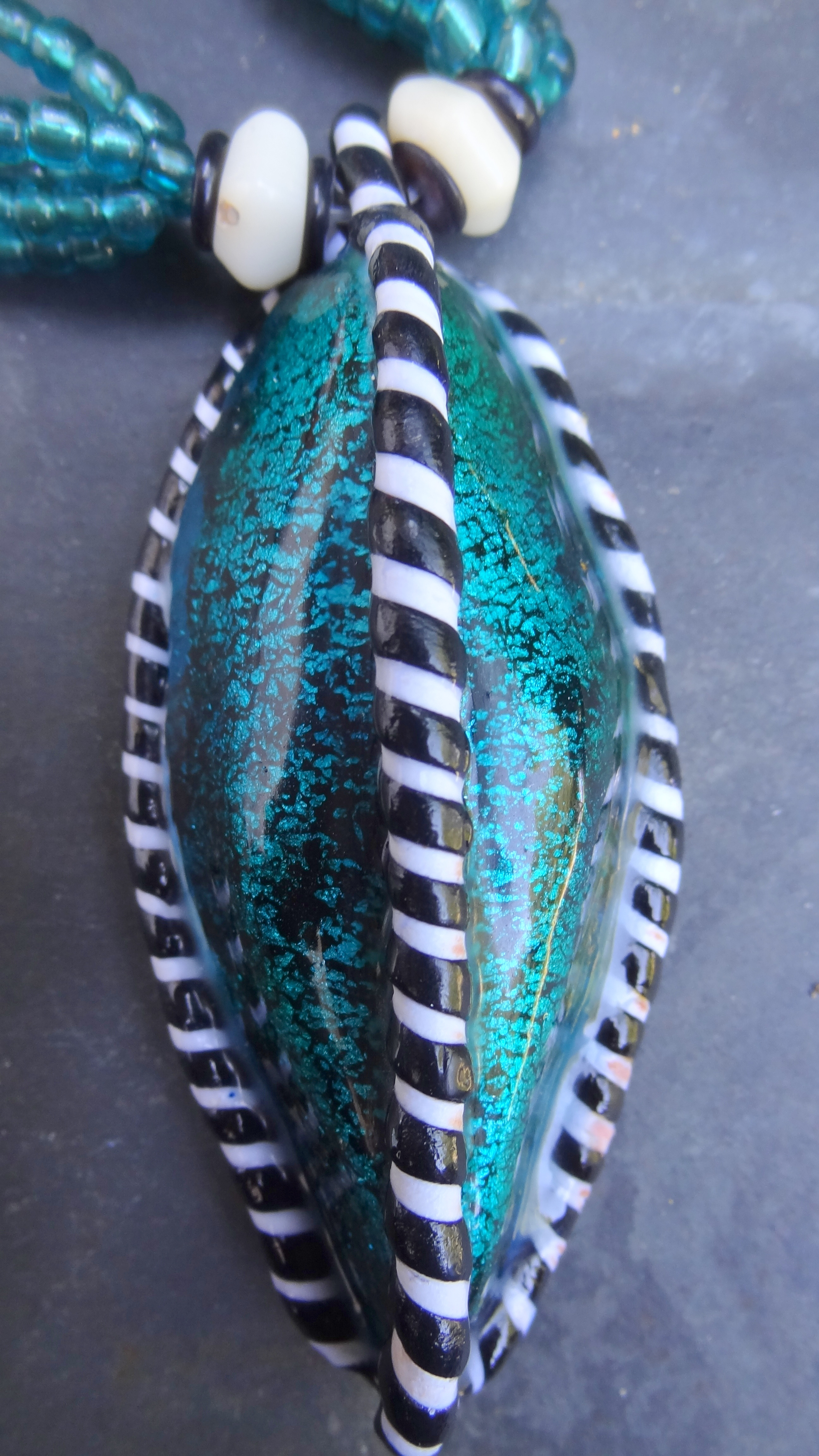 Turquoise Ribbed Pod Detail